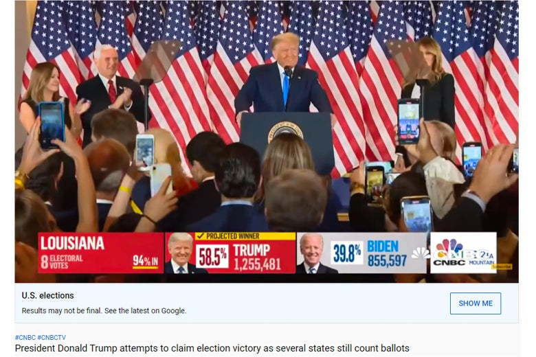 """Screenshot from YouTube of a CNBC election broadcast, with a label under the video that says """"Results may not be final. See the latest on Google"""""""