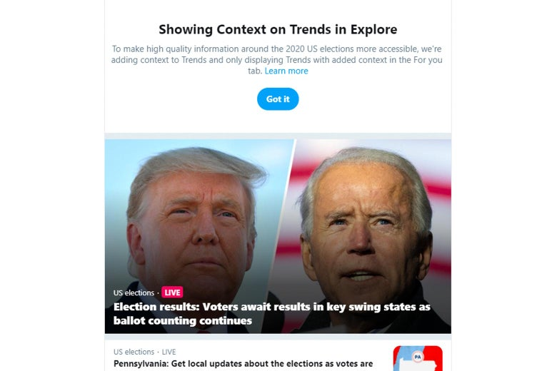 """Twitter timeline of election results stories with a note at the top from Twitter on how and why the platform is """"Showing Context on Trends"""""""